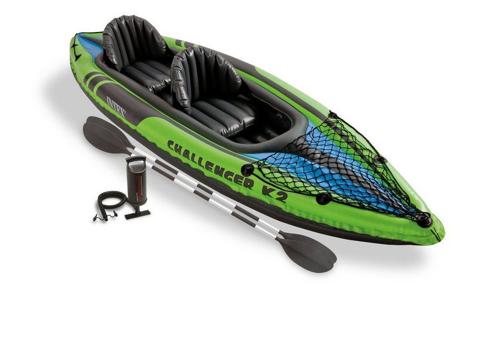 Kajak, mit 2 Paddeln und Luftpumpe , »Challenger K2 Set«, Intex in schwarz-grün-blau