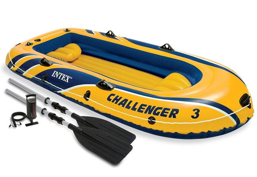 Sportboot-Set, mit 2 Paddeln und Luftpumpe, »Boot-Set Challenger 3«, Intex in gelb