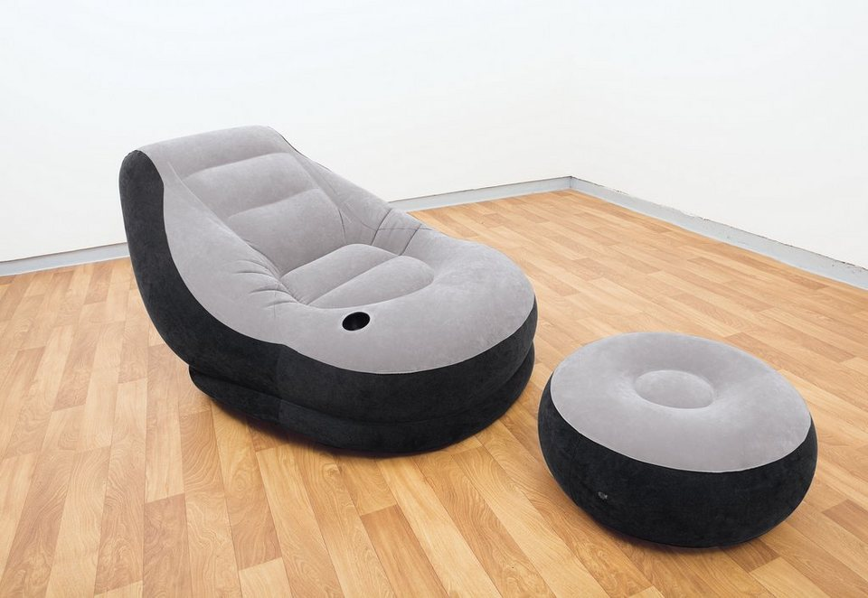 Sessel mit Ottomane, »Ultra Lounge Ottomane«, Intex in grau-schwarz