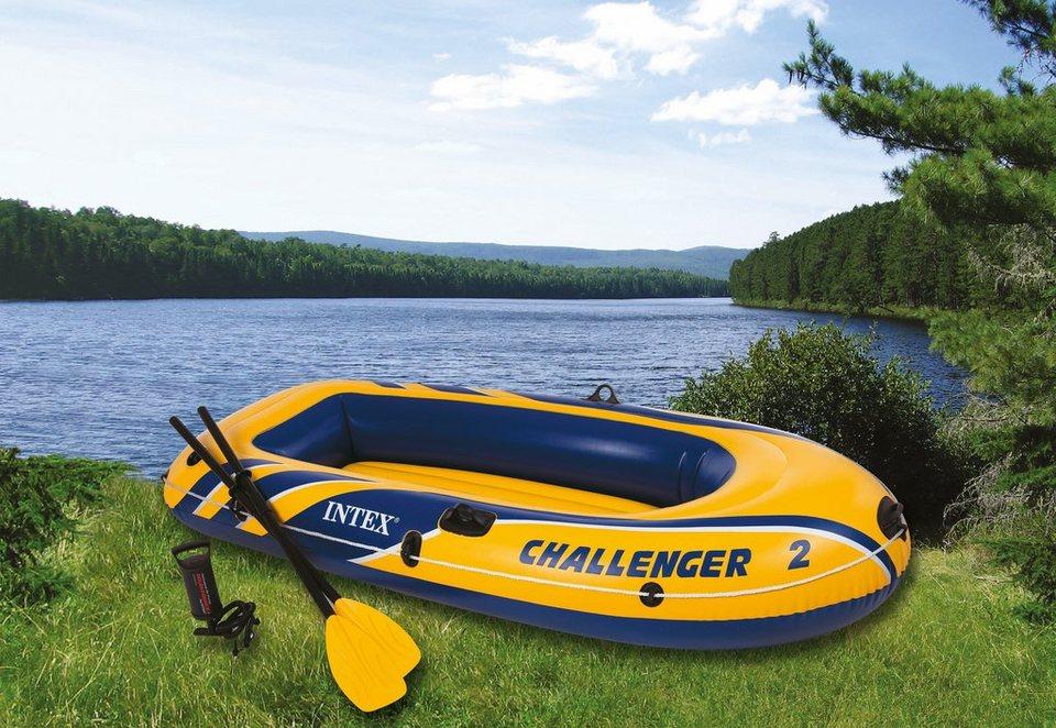 Sportboot-Set, mit Kunststoffpaddel und Luftpumpe, »Boot-Set Challenger 2«, Intex in gelb