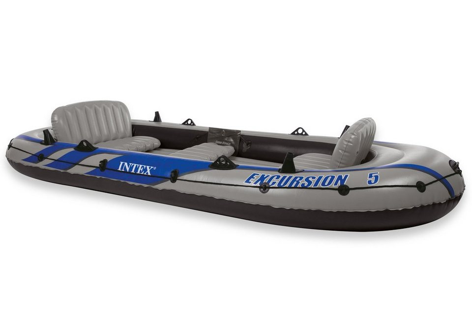 Sportboot-Set, mit 2 Paddeln und Luftpumpe, »Boot-Set Excursion 5«, Intex in grau