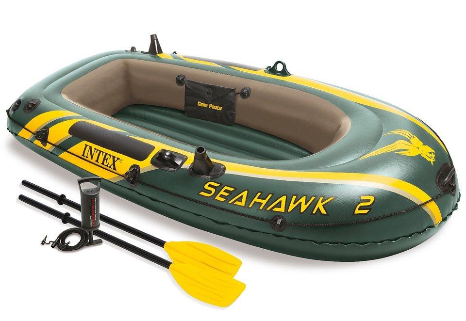 Sportboot-Set, mit 2 Paddeln und Luftpumpe, »Boot-Set Seahawk 2«, Intex in grün