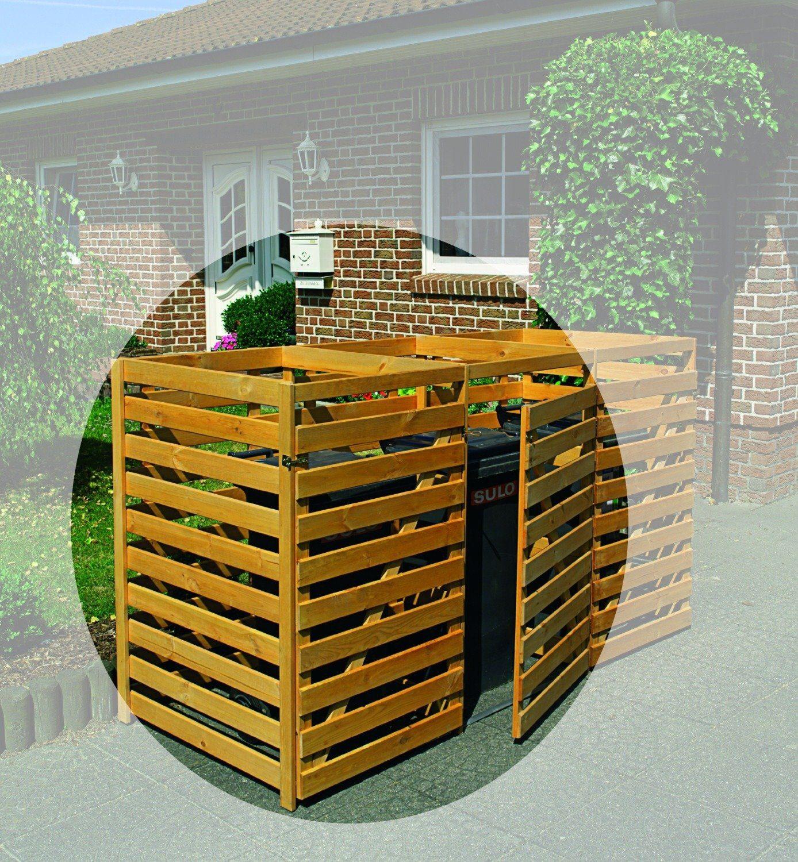 PROMADINO Mülltonnenbox , für 2x240 l aus Holz, B/T/H: 146/90/116 cm
