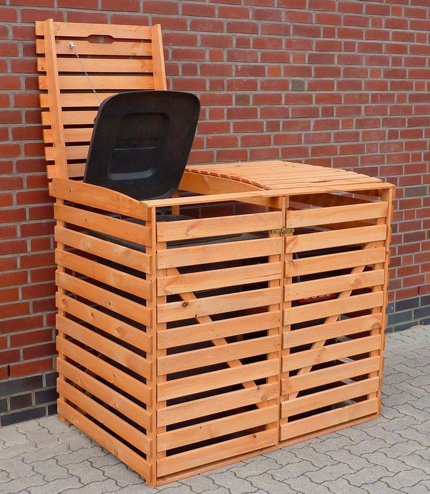 PROMADINO Mülltonnenbox , für 2x120 l, B/T/H: 130/63/111 cm in braun