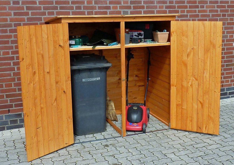 PROMADINO Mülltonnenbox , für 2x240 l aus Holz, B/T/H: 166/101/161 cm in honigbraun