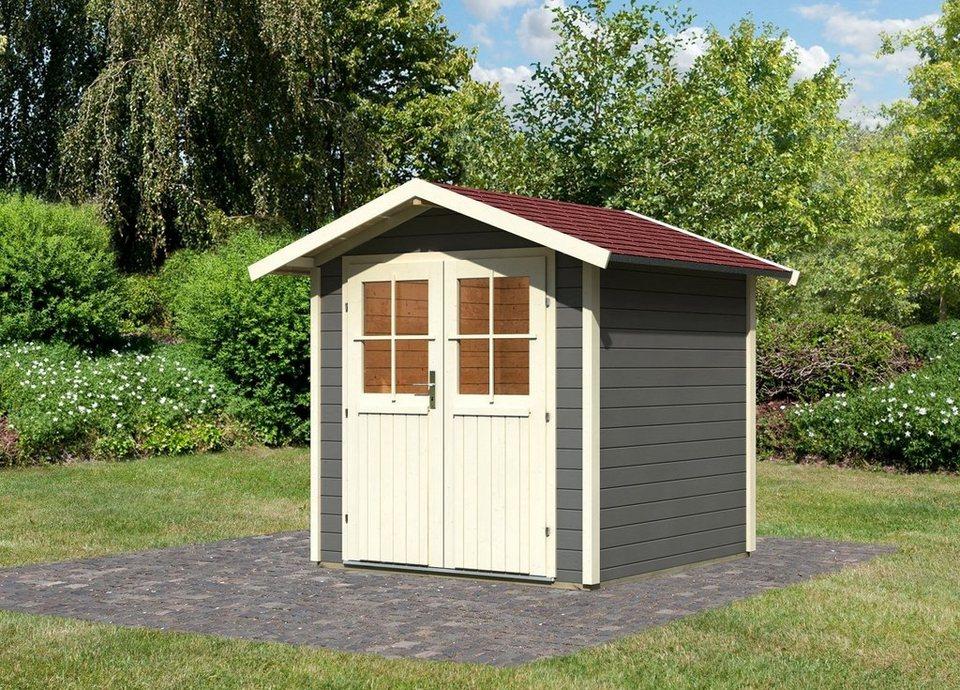 Karibu Set: Gartenhaus »Smaland«, BxT: 204x204 cm in terragrau