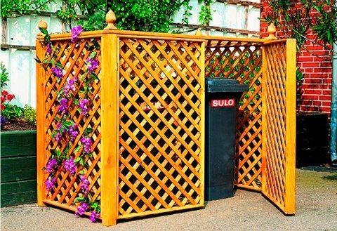PROMADINO Mülltonnenbox , für 2x240 l aus Holz, B/T/H: 164/89/136 cm