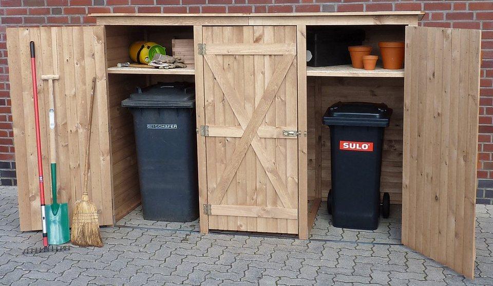 PROMADINO Mülltonnenbox , für 3x240 l aus Holz, B/T/H: 250/101/161 cm in natur