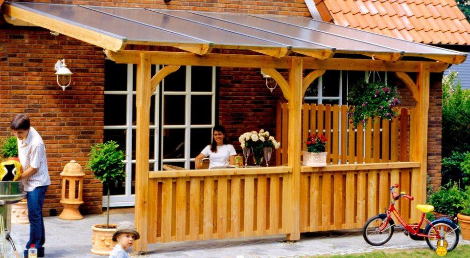 Skanholz Terrassendach »Rimini 648«, inkl. Wandanschlussprofil und Aufschraubstütze in natur