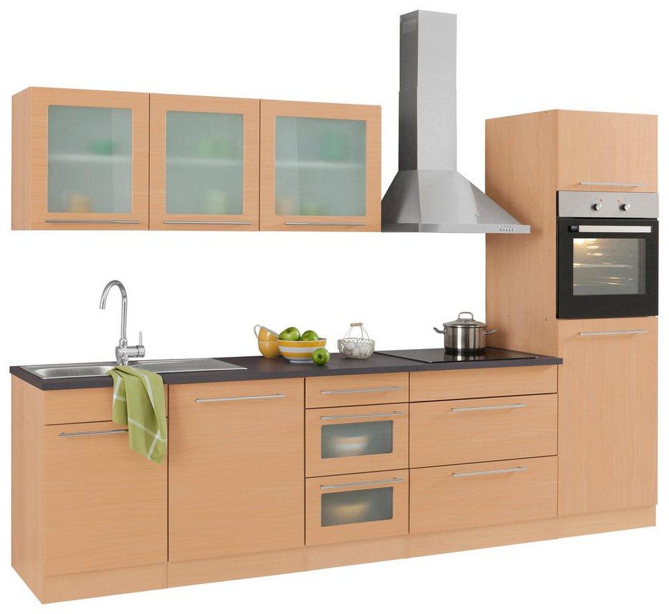 Küchenzeile, Held Möbel, »Malta«, mit E-Geräten, Breite 300 cm in Buche