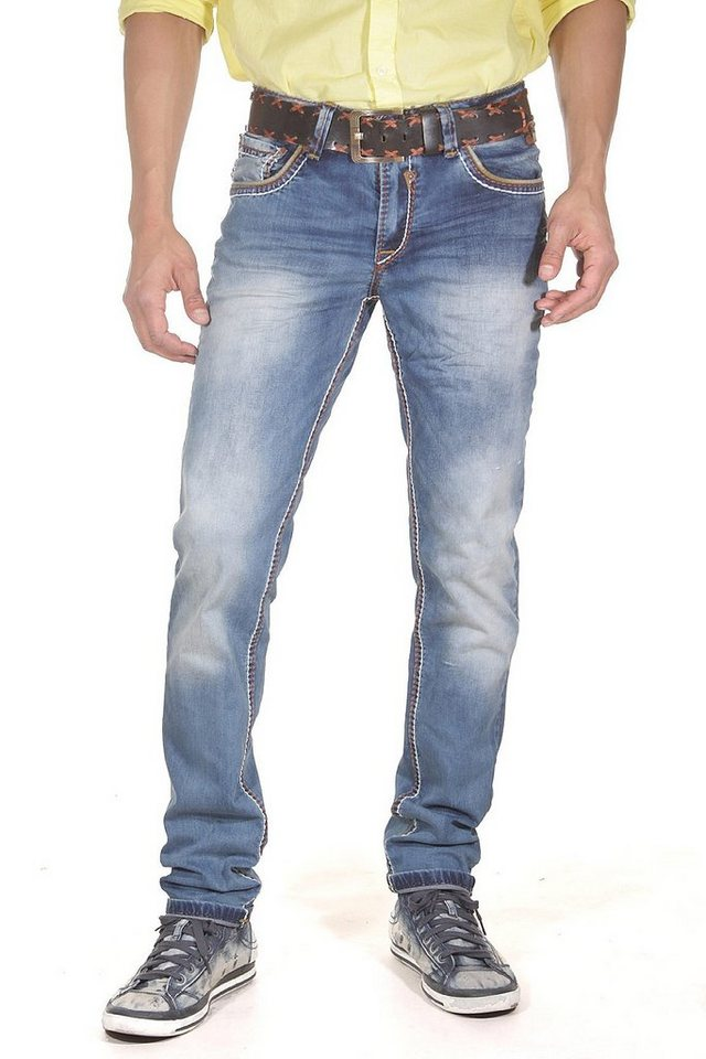 R-NEAL Stretchjeans slim fit in blau