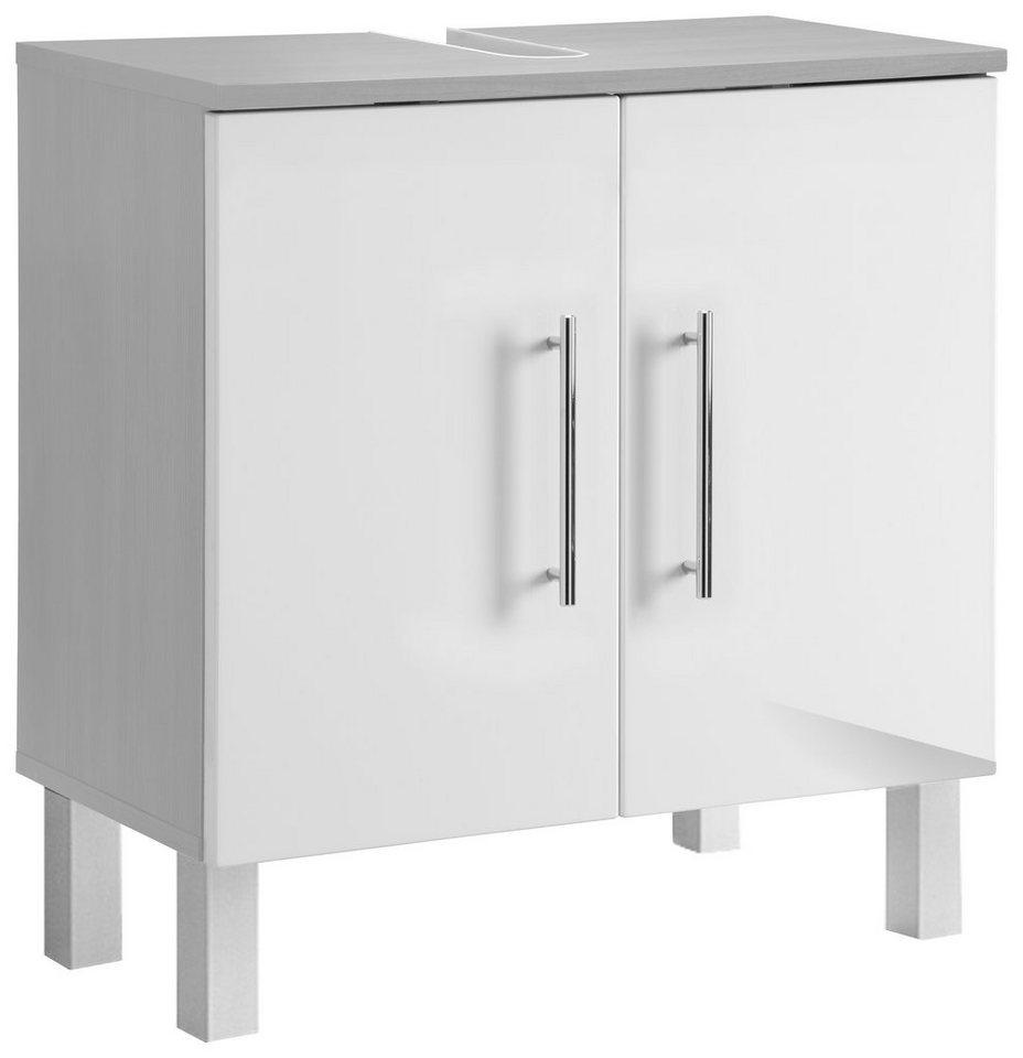 Waschbeckenunterschrank, Kesper , »Sierra« in alufarben-weiß
