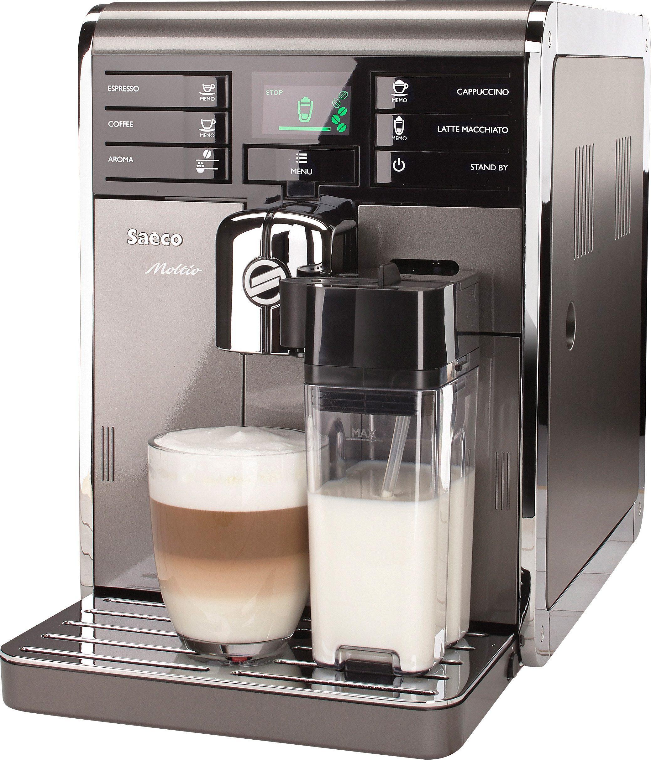 Saeco Kaffeevollautomat HD8869/11 Moltio One Touch Premium, integrierter Milchtank, Anthrazit/Silber