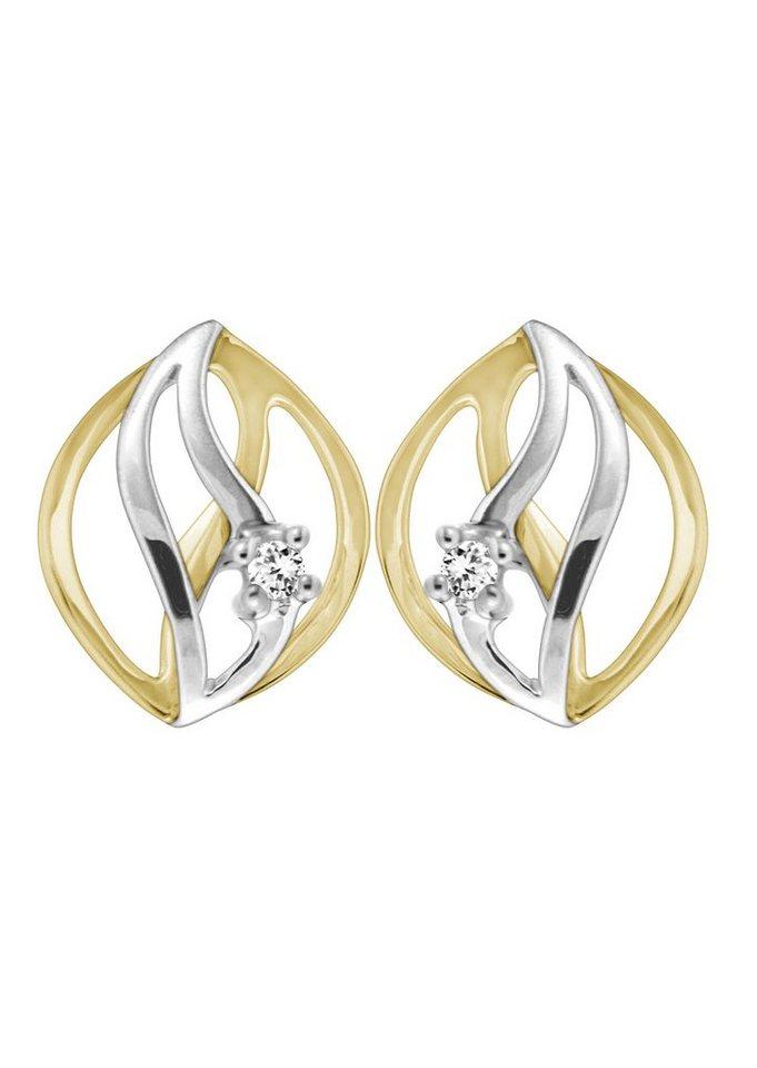 """Vivance Jewels Ohrschmuck: Paar Ohrstecker """"wave"""" mit Diamanten in Gelb-/Weißgold 333"""