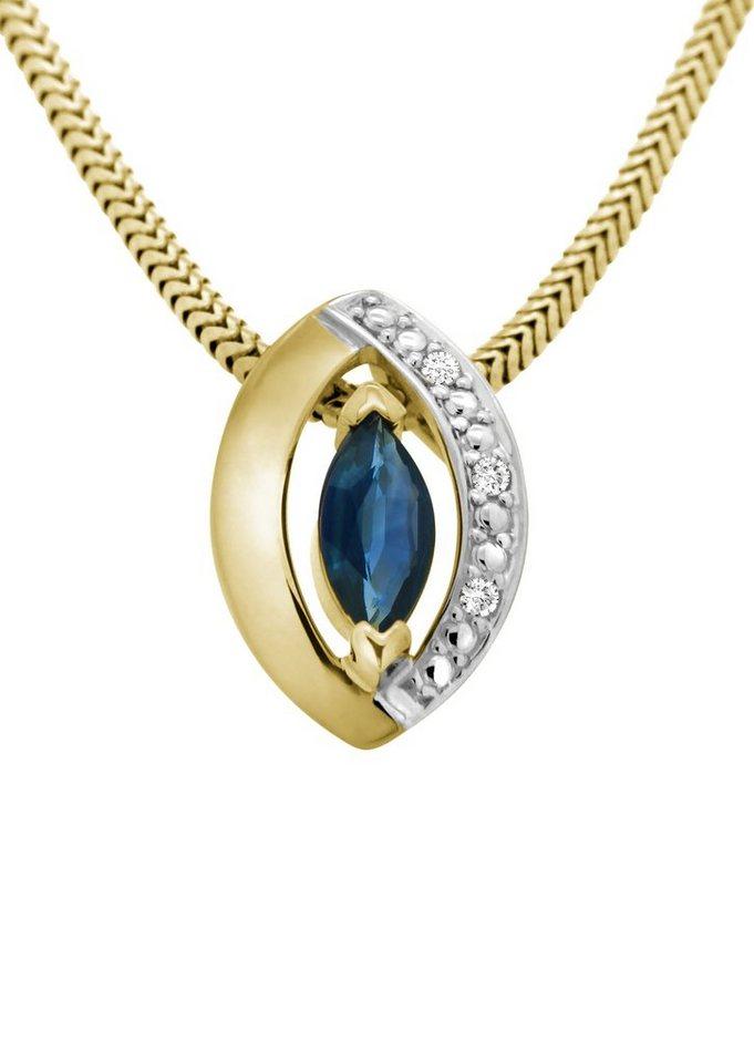 Vivance Jewels Anhänger mit Safir und Diamant in Gelbgold 333/teilweise rhodiniert