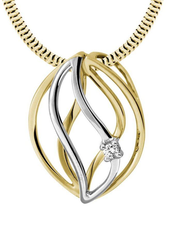 Vivance Jewels Halsschmuck: Anhänger ohne Kette mit Diamant in Gelb-/Weißgold 333