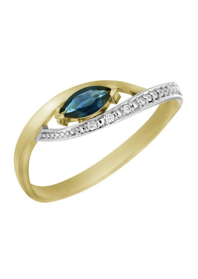 Vivance Jewels Ring mit Safir und Diamanten in Gelbgold 333/teilweise rhodiniert