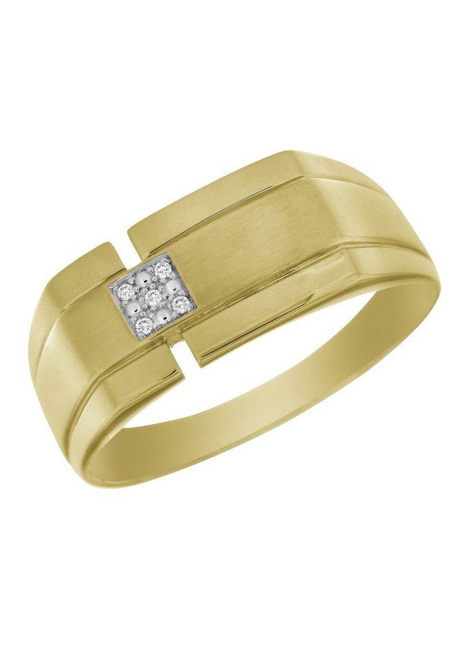 firetti Ring: Siegelring mit Diamant in Gelbgold 333/teilweise rhodiniert