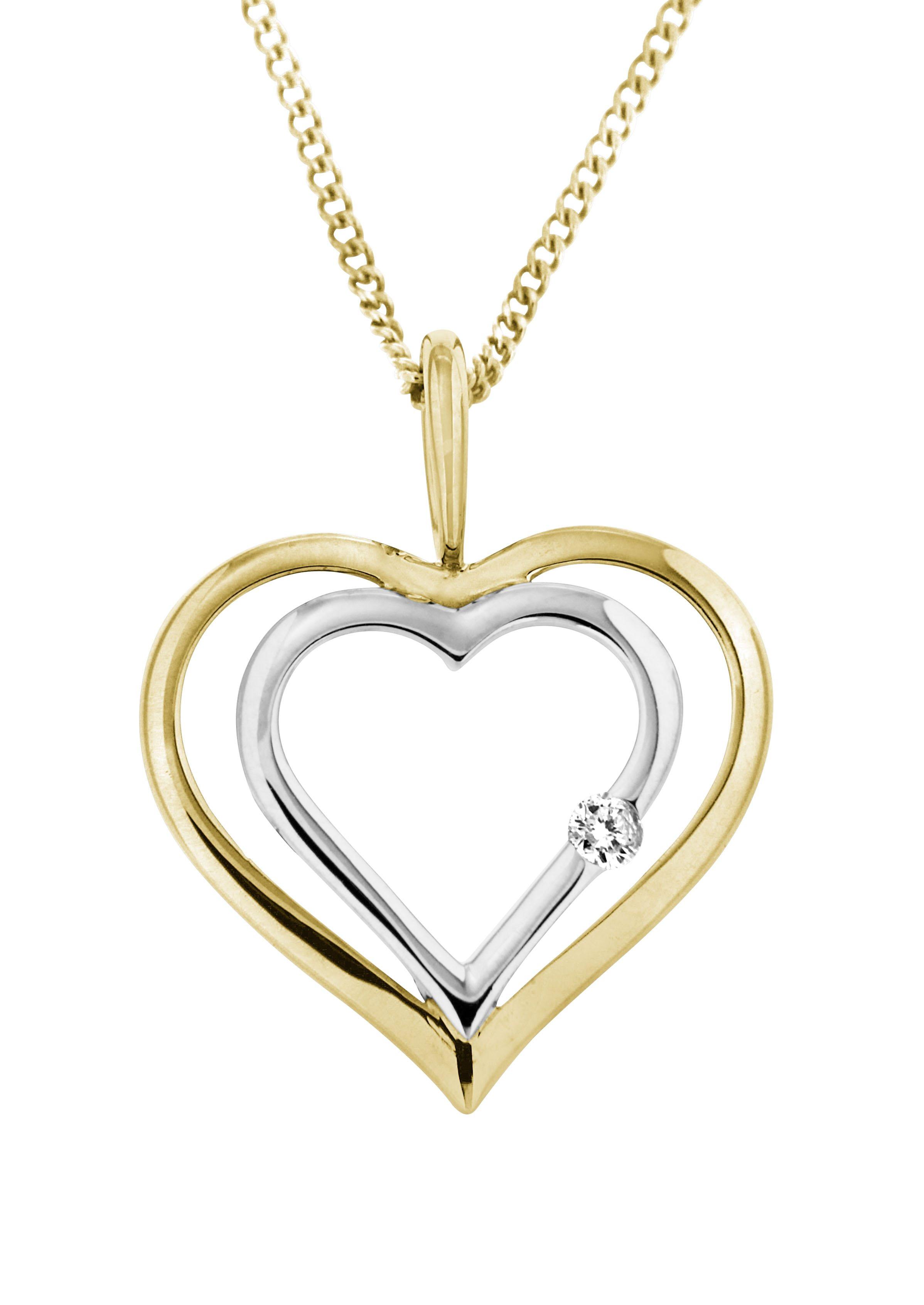 Vivance Jewels Halsschmuck: Anhänger ohne Kette ´´Herz´´ mit Diamant | Schmuck > Halsketten > Herzketten | Vivance jewels