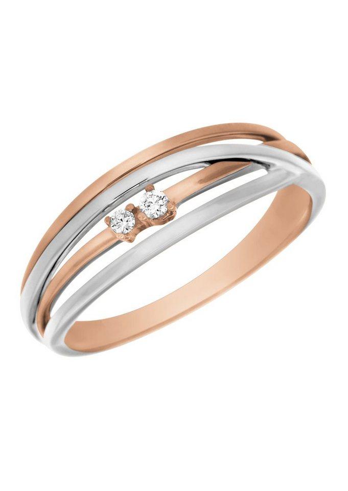 Vivance Jewels Ring mit Diamanten in Rot-/Weißgold 333