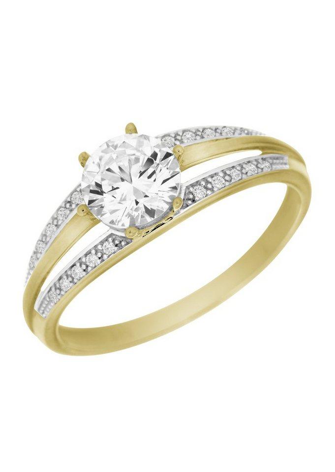 firetti Ring mit Zirkonia in Gelbgold 333/teilweise rhodiniert