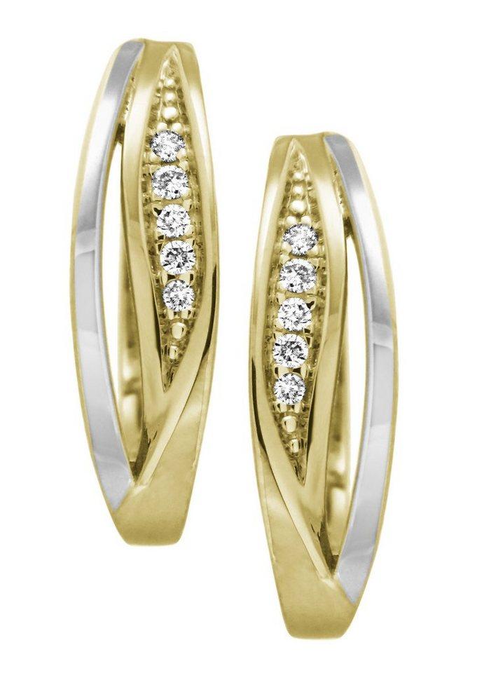 Vivance Jewels Ohrschmuck: Paar Creolen mit Diamanten in Gelbgold 333/teilweise rhodiniert