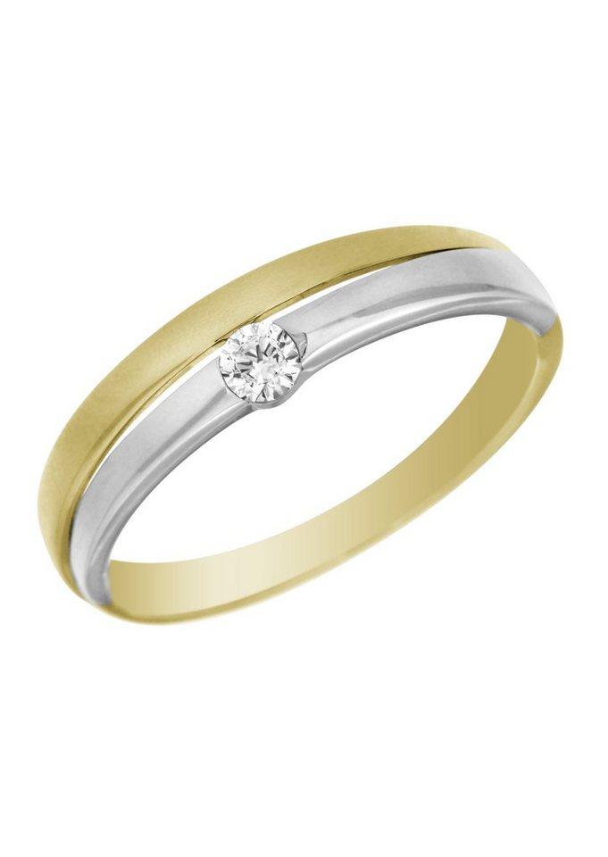 firetti Ring mit Zirkonia in Gelb-/Weißgold 333