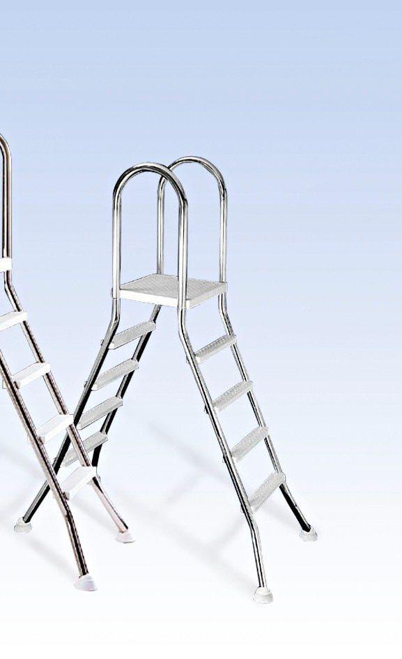 Mypool Hochbeckenleiter, 4-stufig, für Poolhöhe 120/125 cm in silberfarben