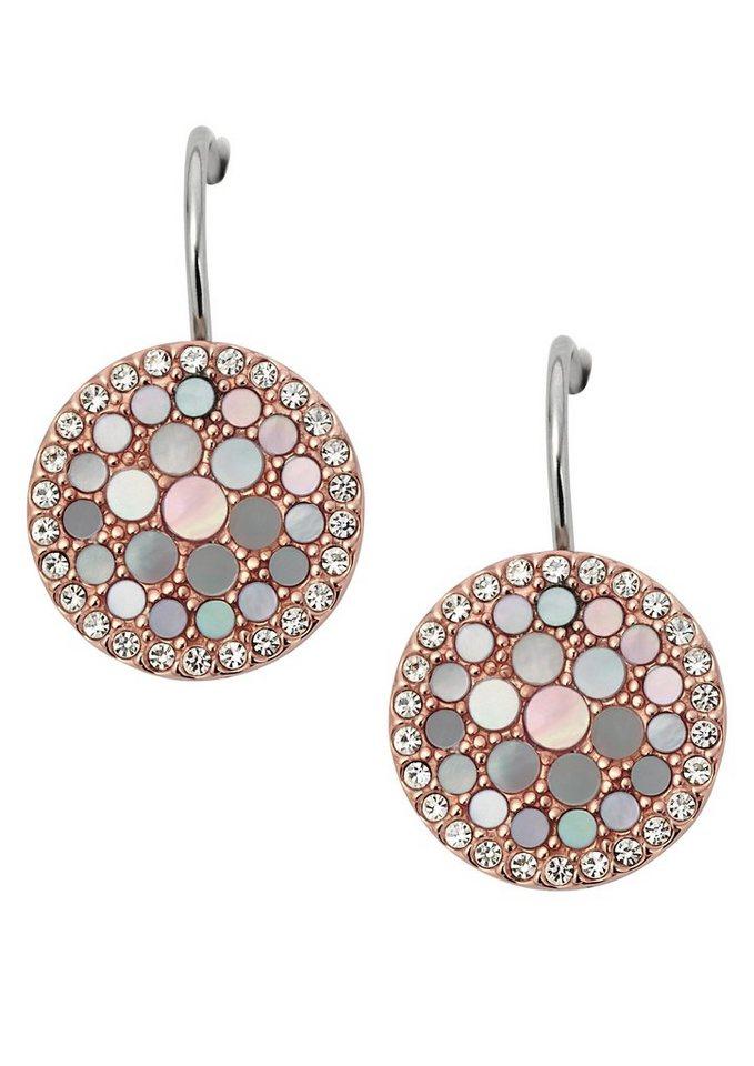 Fossil Paar Ohrhaken »Disc Drop, Vintage Glitz, JF01737791« mit Glassteinen und Perlmutt in roségoldfarben-silberfarben-bunt