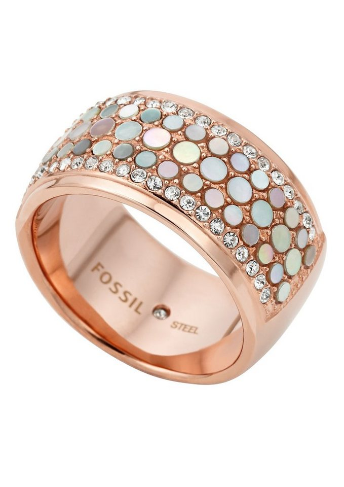 Schmuck ringe  Fossil Fingerring »Mother-Of-Pearl-Ring, Vintage Glitz, JF01742791 ...