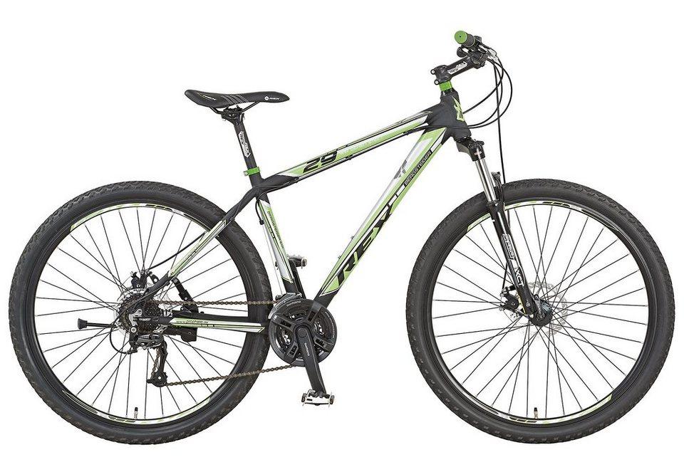 Alu Mountainbike Hardtail, 29 Zoll, 24 Gang Shimano Acera, »Twentyniner BERGSTEIGER 2.01«, REX in mattschwarz