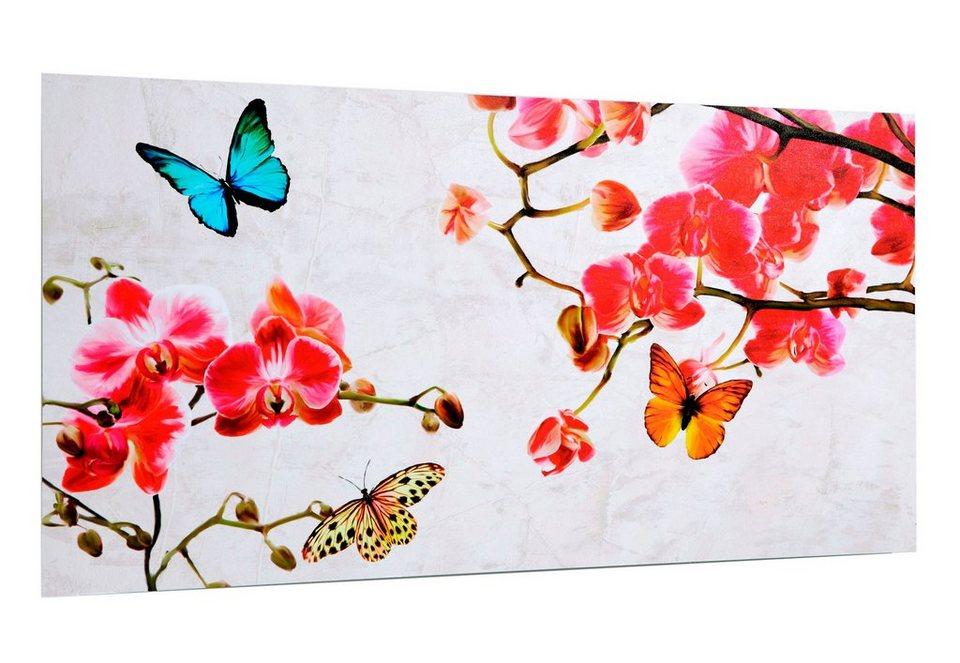 Home affaire Wandbild, »Orchidee & Butterfly«, 100/50 cm in rosa