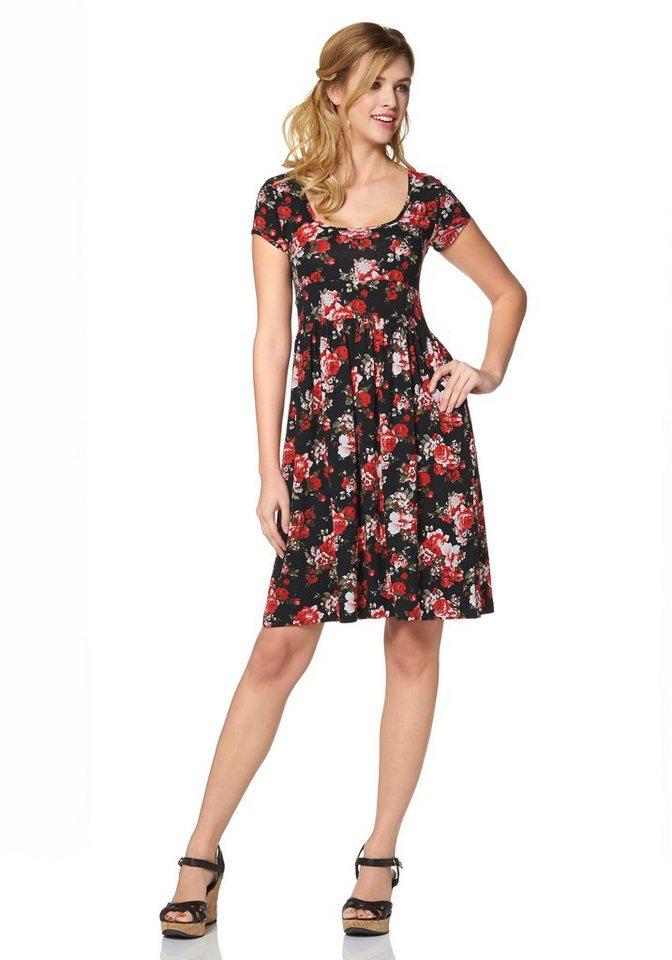 Cheer Jerseykleid mit Blumendruck oder einfarbig in schwarz-koralle-bedruckt