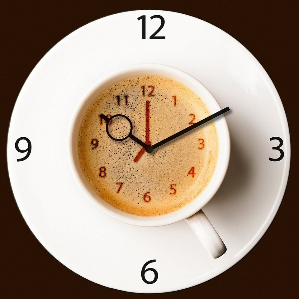 Wanduhr aus Glas, Eurographics, »It's Coffee Time«, 30/30 cm in weiß/braun