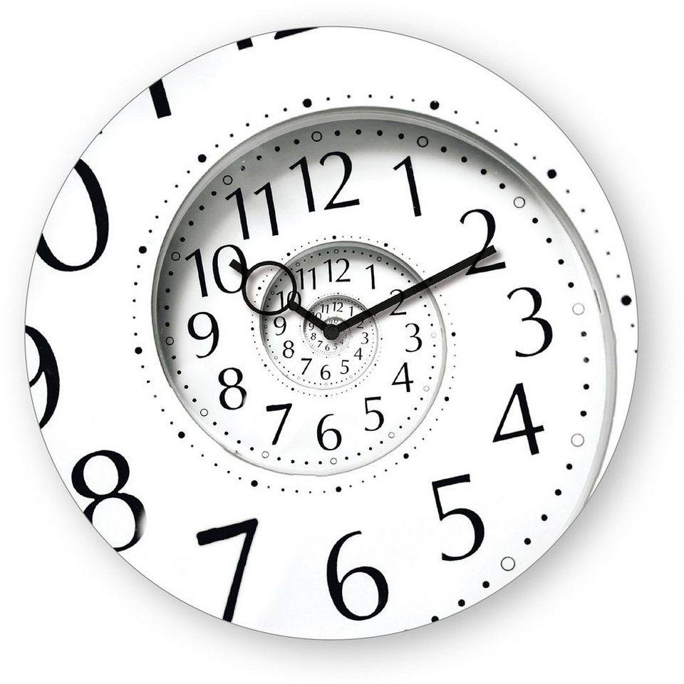 Wanduhr aus Glas, Eurographics, »Time Flies«, 30/30 cm in weiß/schwarz