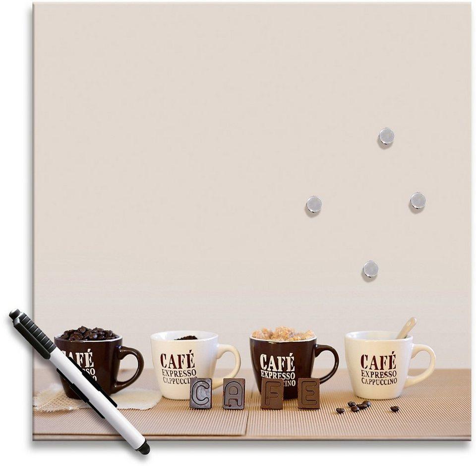 Memo Board, Eurographics, »Coffee Family«, 30/30 cm in creme/braun