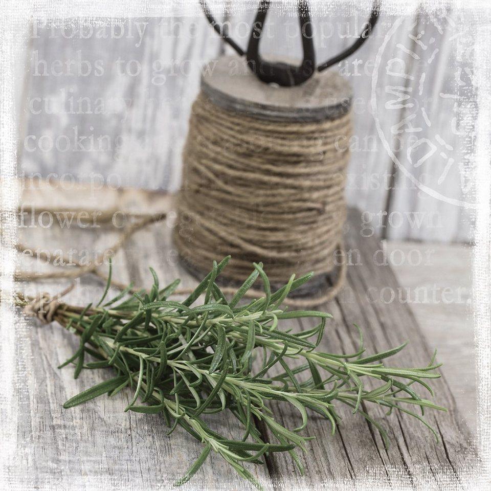 Bild aus Holzwerkstoff, Eurographics, »Kitchen Herbs«, 30/30 cm in graubraun/grün