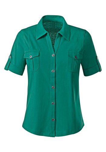 Damen Collection L. Jersey-Bluse mit Umlegekragen grün | 08903340651852