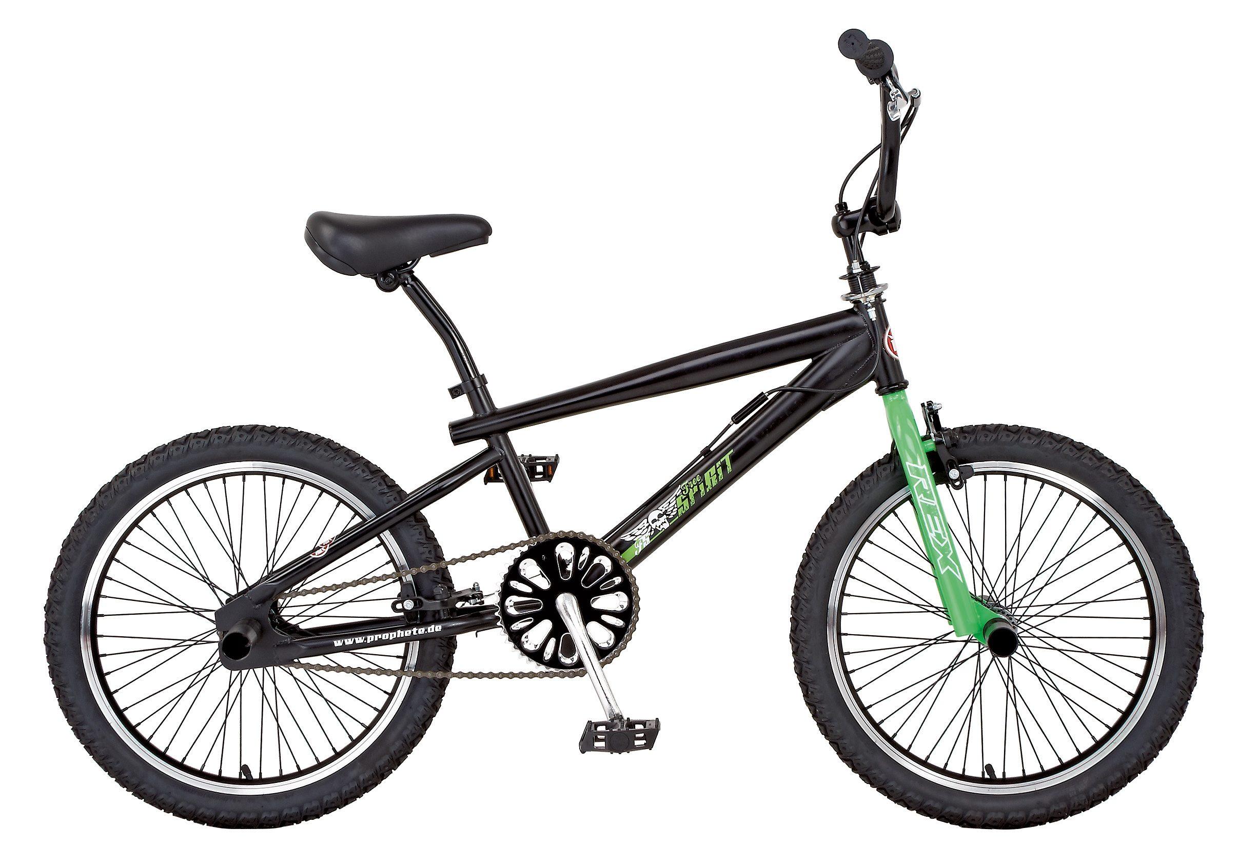 BMX Fahrrad, 20 Zoll, schwarz, Gabel neongrün, REX