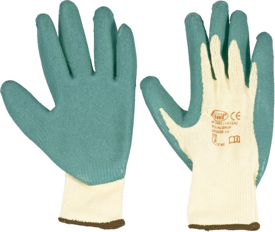 Handschuhe (6 Paar) in grün/natur