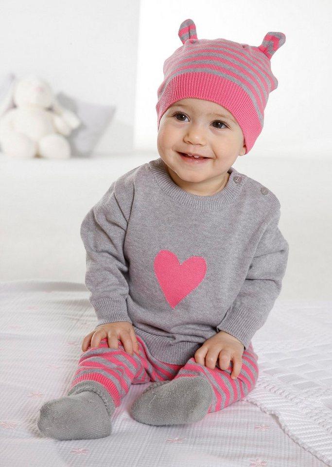 Klitzeklein Neugeborenen-Geschenkset (Set, 3 tlg.) in pink+grau