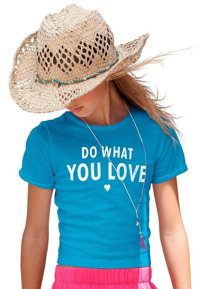 Arizona T-Shirt in Kurzform in blau
