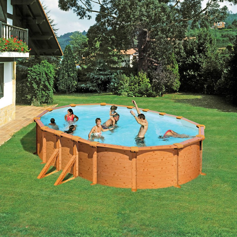 Summer Fun Set: Ovalpool »Holz-Optik 132 cm Höhe« (6-tlg.) in braun