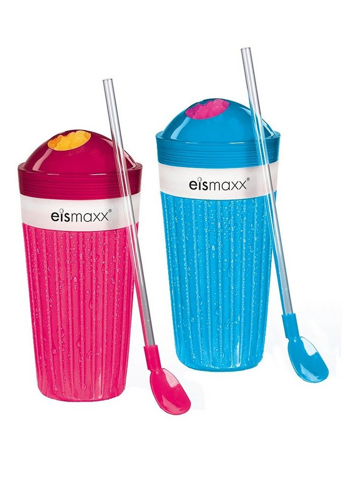GOURMETmaxx Slush-Ice Becher, 2er Set in rot und blau