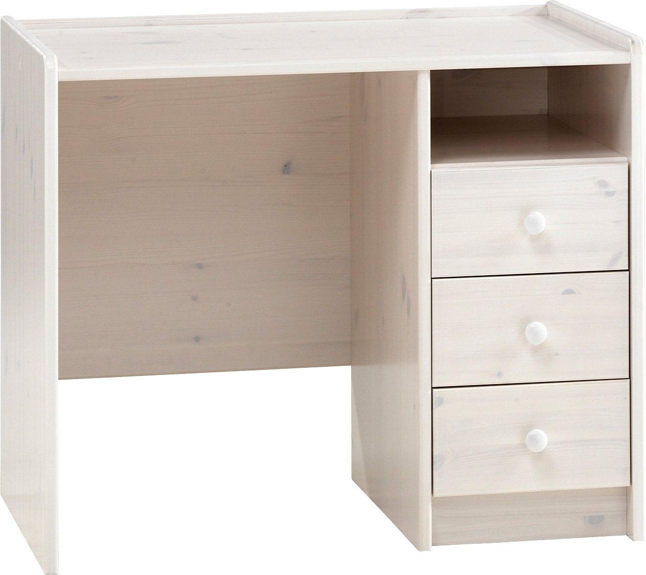 Schreibtisch, Home affaire | Büro > Bürotische > Schreibtische | Weiß | Massiver - Lackiert - Lasiert | Home affaire