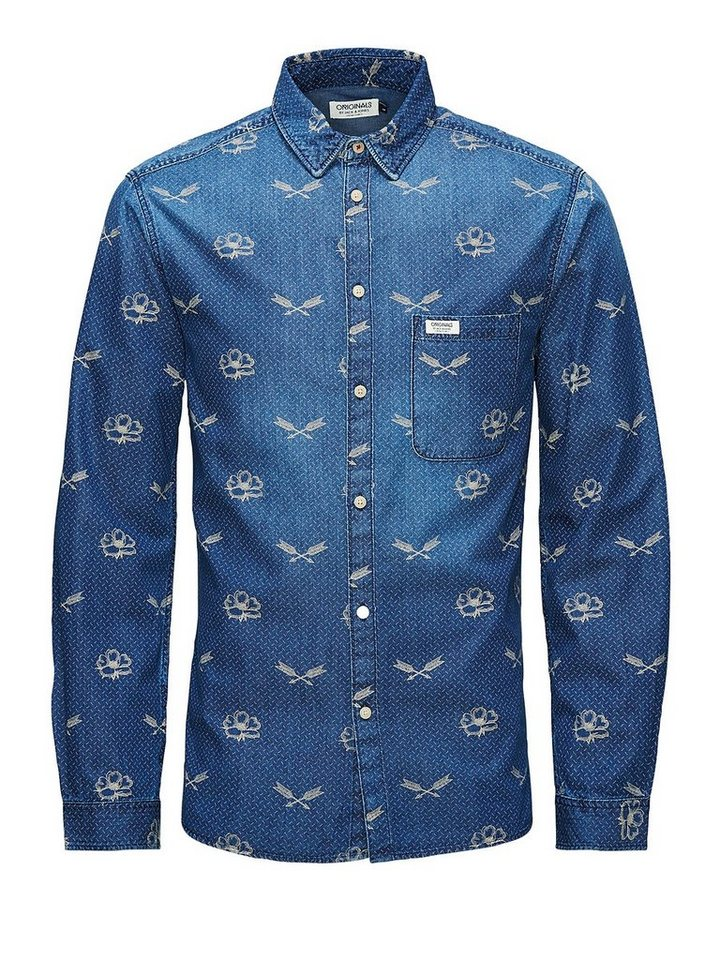 Jack & Jones Gemusterter Denim Hemd in Dark Blue Denim 1
