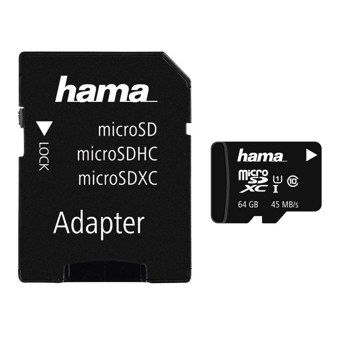 Hama Speicherkarte microSDXC 64GB, Class 10, UHS-I, 45MB/s »inkl. Adapter/Mobile«