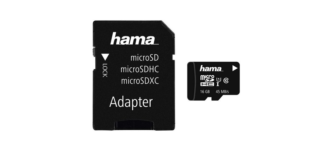 Hama microSDHC 16GB Class 10 UHS-I 45MB/s + Adapter/Action-Cam