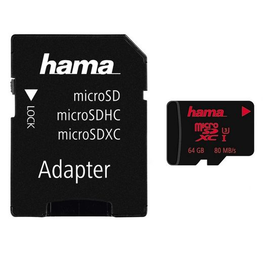 Hama microSDXC 64 GB UHS Speed Class 3 UHS-I 80 MB/s + Adapter »inkl. Adapter auf SD Karte«