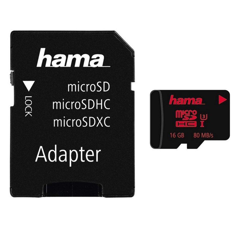 Hama microSDHC 16GB UHS Speed Class 3 UHS-I 80MB/s + Adapter/Foto in Schwarz